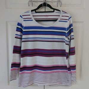 Talbots striped long sleeved tee size 1X like new!